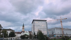 Time lapse video a street on the banks of the Danube River in Linz, Austria Stock Footage