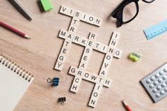 Conceptual business keywords on table with elements of game making crossword Stock Photos
