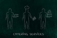 Waiter, cook and pastry chef, concept of jobs in the food industry Stock Illustration