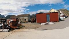 Old fishing village,old used stuff boats,mechanism.Lofoten islands, Sund, Norway Stock Footage