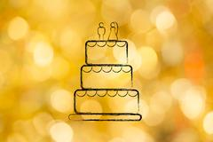 Chalk outline of wedding cake Stock Illustration