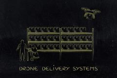 Drone delivery of online order parcel, warehouse version Stock Illustration