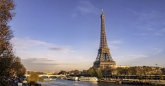 Sliding time lapse view of the Eiffel tower and the river Seine in Paris, France Stock Footage