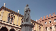 Dante's Monument in Piazza Signori in the Historical Center of Verona, Italy Stock Footage