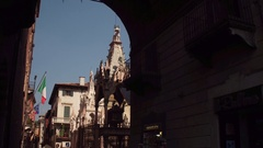 Arche Scaligere at the entrance to the Church of Santa Maria Antica, Verona Stock Footage