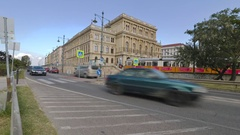 People and cars rush by in this Pest, Budapest, Hungary time lapse Stock Footage