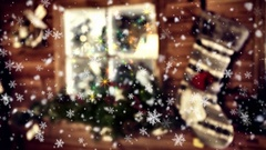 Magic Christmas background with seamless looping of falling snowflakes. 4k Stock Footage