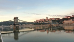 Good morning Danube River in a Budapest Hungary time lapse Stock Footage