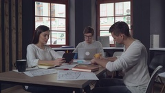 Friendly workers in start up videoconference Stock Footage
