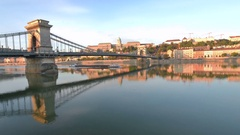 Barge traffic on the Danube River in Budapest featured in this time lapse Stock Footage