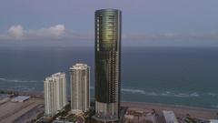 Aerial shot Porsche Design Tower Sunny Isles Arkistovideo