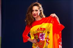 Beautiful woman with Flag of Spain. Stock Photos