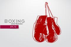 Boxing gloves silhouette. Stock Illustration