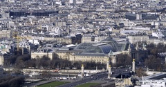 Aerial panning time lapse view of the Grand Palais in Paris Stock Footage
