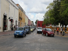 Mexico busy town center traffic Valladolid city DCI 4K Stock Footage