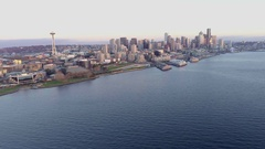 Aerial Cityscape Seattle Washington Skyline From Elliot Bay Stock Footage