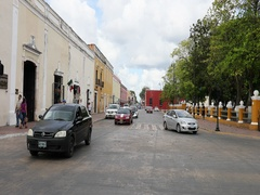Mexico intersection traffic Valladolid town center DCI 4K Stock Footage