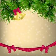 Christmas Greeting card with fir twigs and jingle bells Stock Illustration