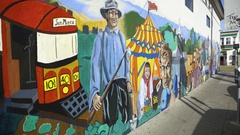 Mural painting in downtown San Francisco Stock Footage