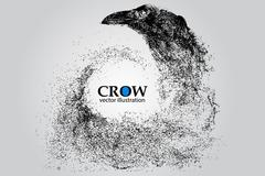 Silhouette of a crow from particles. Stock Illustration