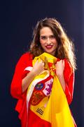 Beautiful woman with Flag of Spane. Stock Photos