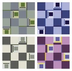 Set of various seamless patterns of quadrants Stock Illustration