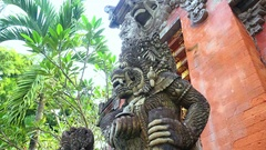 Balinese gods at Gunung Kawi Temple Complex, Bali, Indonesia Stock Footage