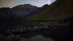 MoCo Astro Timelapse of Stars over Alpine Lake in Eastern Sierra  Stock Footage
