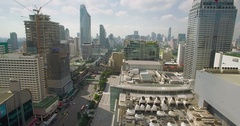 Drone Slider Shot of Central Shopping District in Bangkok, Thailand Stock Footage