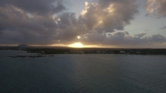 Aerial view of sunset on Mauritius Island Stock Footage