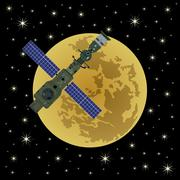 Space satellite on a background of Moon-6 Stock Illustration