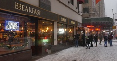 Winter Establishing Shot of Manhattan Diner or Restaurant  	 Stock Footage