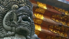 Barong Lion Guard, Balinese mythological character. Indonesia Stock Footage
