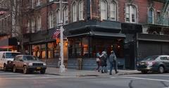 Establishing Shot of Typical Manhattan Corner Bar and Restaurant  Stock Footage