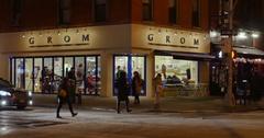 Night Establishing Shot of Typical Manhattan Corner Bar and Restaurant  Stock Footage