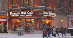 Winter Establishing Shot of Manhattan Deli or Restaurant   Stock Footage