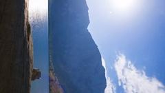 MoCo Astro Timelapse of Moonset over Alpine Lake in Eastern Sierra -Vertical- Stock Footage