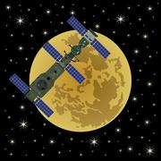 Space satellite on a background of Moon-4 Stock Illustration