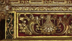 Ancient golden altar for holy sacrifices in Hindu sanctuary. Bali, Indonesia Stock Footage