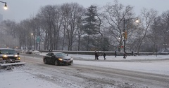 Snow Plow Removes Snow From Streets Near Central Park Stock Footage