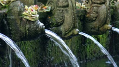 Holy spring water and sacred pool. Pura Tirta Empul Temple. Bali, Indonesia Stock Footage