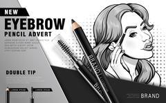 Colorful eyebrow pencil ad Stock Illustration