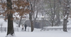 Joggers Run on the Paths During a Snowstorm in Central Park  	 Stock Footage