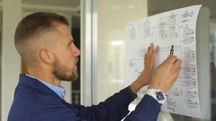 Architect builder studying layout plan of the rooms, serious civil engineer Stock Footage