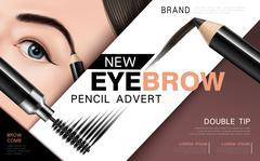 Eyebrow pencil and mascara ad Stock Illustration