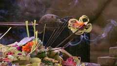 Beautiful ceremonial offering to gods in Hindu Temple. Bali, Indonesia Stock Footage
