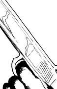 Outline illustration of close up on pistol with finger on trigger Piirros