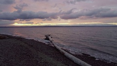 Golden Gardens Seattle Brightly Colored Sunset Birds Fly By Driftwood on Beac Stock Footage