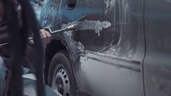 Restoration of car body Stock Footage