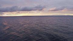 Amazing Purple Colored Sea Sunset Orange Clouds Light Rays Stock Footage